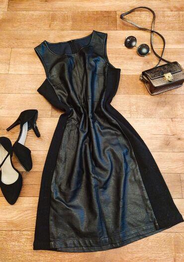 длинное черное платье в Кыргызстан: СРОЧНО продаю чёрное платье с кожаными вставками!!! S-MНадела пару