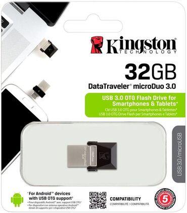 флешки usb usb 3 0 в Кыргызстан: Флеш-карты (флешки) PEN DRIVE 32GB USB 3.0 + microUSB(OTG) KINGSTON