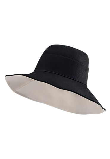Шляпа двухсторонняя, цвет чёрный/бежевый, размер 56-57. Двухсторонняя