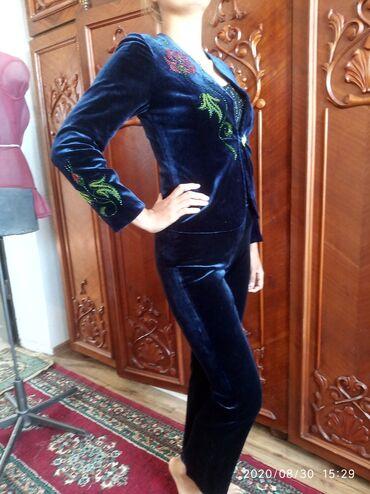 Женская одежда - Кашка-Суу: Классическая двойка из королевского вилюра с кыргызскими орнаментами!