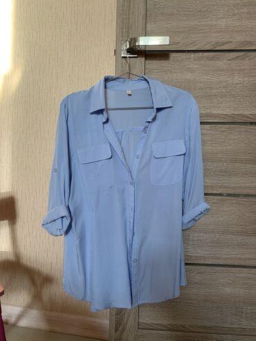 Две рубашки за 1000 размер S-M голубая и хаки, в живую намного лучше
