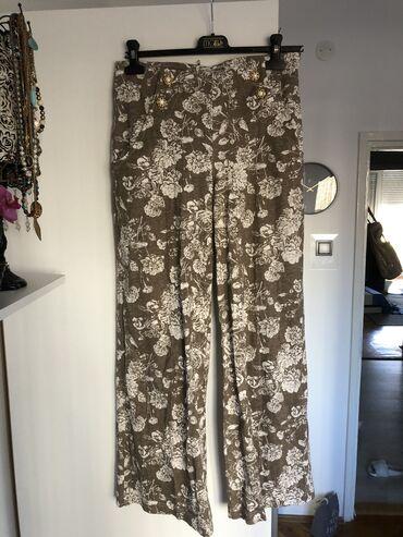 Zenske pantalo - Srbija: JEDNOM OBUCENE, predivne zenske pamucne pantalone, L velicina, moze i