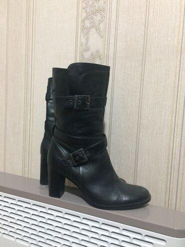 Чёрные новые сапоги, еврозима, натуральная кожа, размер 40, удобный