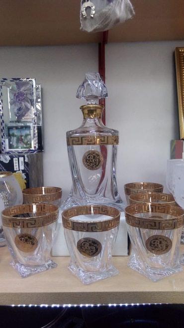 Bakı şəhərində Cexiya istehsalı xrustal viski qrafini ve 6 eded bakal versage