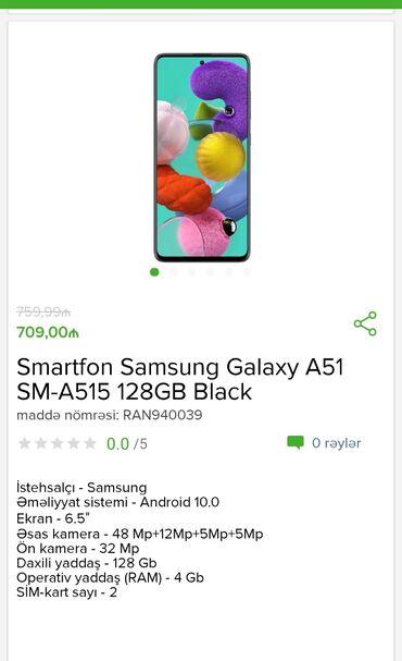 Samsung-p960 - Azərbaycan: Smartfon Samsung Galaxy A 51 128 gb Black cəmi 709 AZN Tam zəmanətlə +