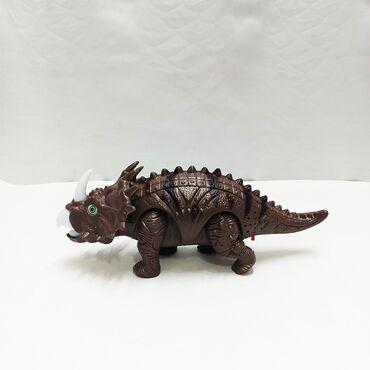 Динозавр музыкальный - ходит, издает звуки и светится красным!!Размер