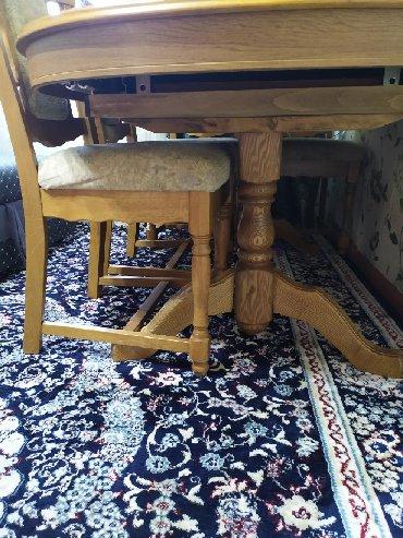 стол и стулья для гостиной в Кыргызстан: Срочно продаю очень добротный стол со стульями,в отличном состоянии!