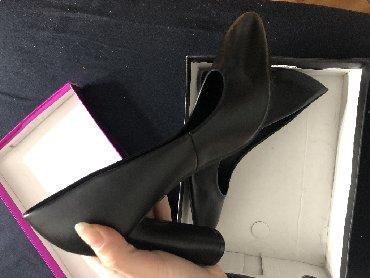 Haljina-pre-meseci - Srbija: Crne cipele broj 39 (odgovaraju i broju 38), okrugla štikla, kupljene