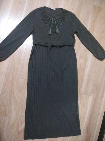 Продаю новое женское длинное теплое платье размер 46-48 цвет хаки