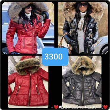 Zimska jakna sa krznom - Srbija: Zimska jakna sa krznom S m l xl Crna  Crvena