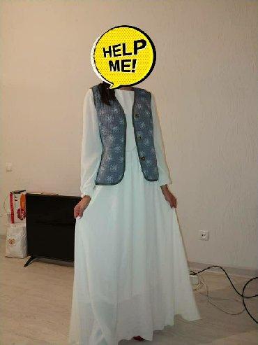 длинное белое платье в Кыргызстан: Продается белое длинное платье, надевала 1 раз, в отличном состоянии