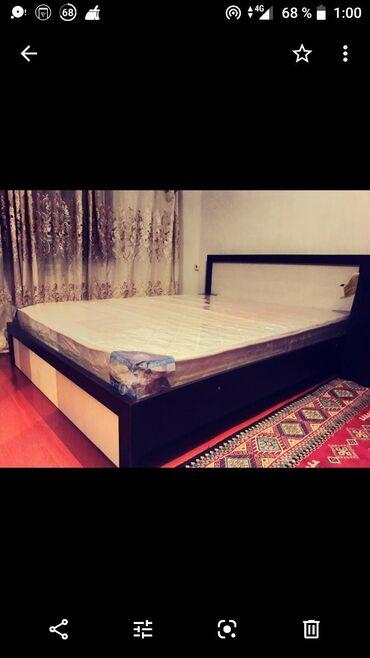2-ух спальная кровать с матрасом. Основание кровати - металический