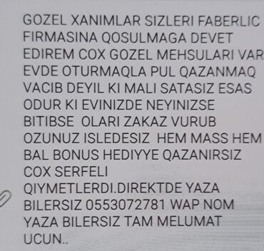 DIQQET FABERLIC FIRMASINA XANIMLAR DEVET OLUNUR PROFIL SEKILDE YAZILIB