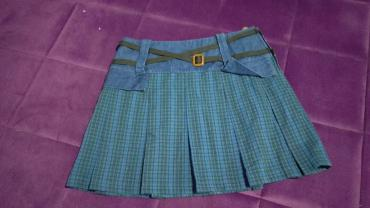 Zimska mini karirana suknja poluobim struka je - Srbija: Suknja, vekicina S, duzina 39, poluobim struka 38, kukovi poluobim 46