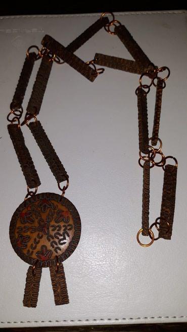 Ogrlica od drveta rezbarena ručno, sa kamenim medaljonom,i bronzanim - Belgrade