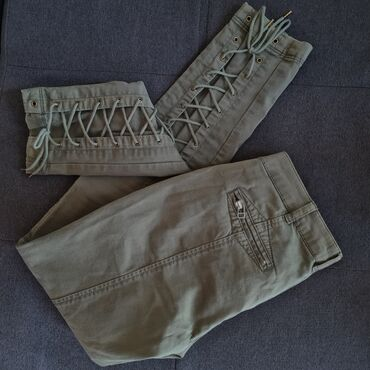 Ženske pantalone - Srbija: PINKO / maslinasto zelene pantalone sa pertlama / vel.S
