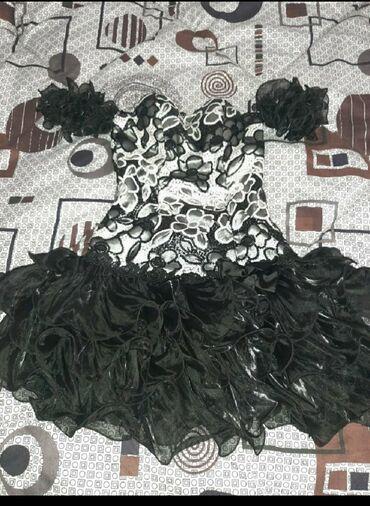 вечернее платья русалка в Кыргызстан: Чёрное платье ручной работы размер 44-48 . Синие с камнями вечерние 4