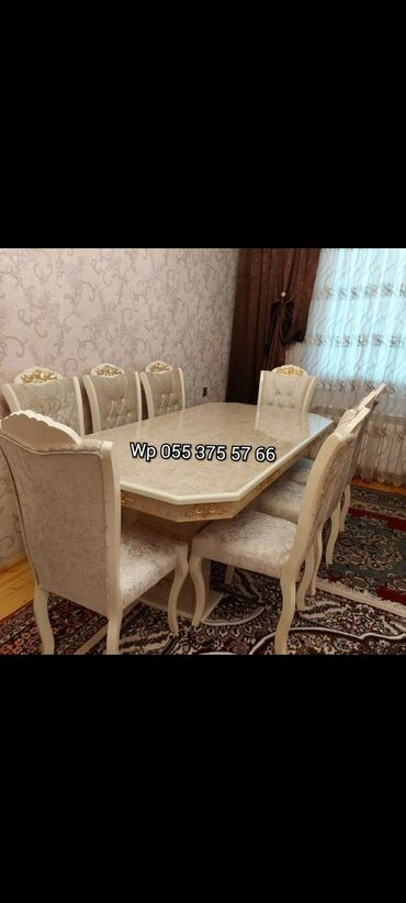 ayaqqabılar üçün yataq otağı masa - Azərbaycan: ▶️ Stol 6 stul 550 manat▶️ 8 stulla 650 manat ▶️ Sifarişle yığılır▶️