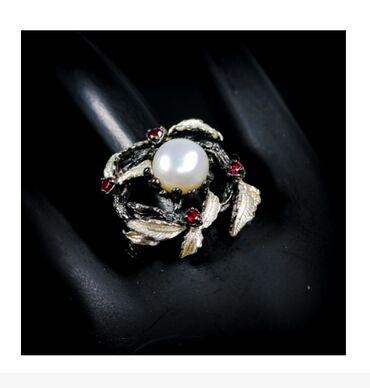 Кольцо 925 пробы с натуральным жемчугом 18 размер. Тайланд