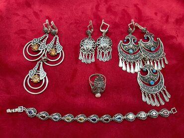 золотые серьги с бирюзой ссср in Кыргызстан | СЕРЬГИ: Продаются серебрянные изделия для истинных ценителей: набор Келдике
