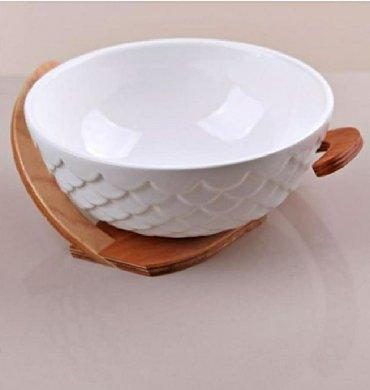 keramika - Azərbaycan: Bambu altlıqlı keramik qab