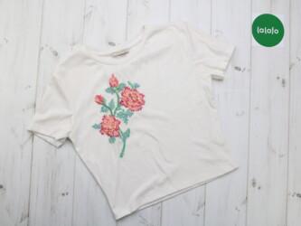 Женская коротка футболка с вышивкой Zara, р. М Длина: 50 см Пог: 46 см