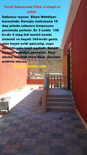 Bakı şəhərində       Tecili Sabuncuda FULL  temirli 4 otaqli ev satilir