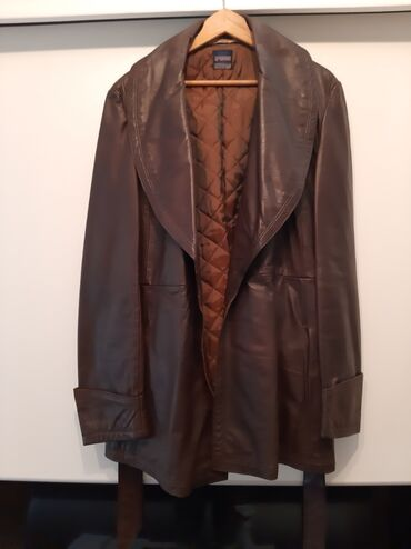 Jakne zenske - Srbija: Zenska braon kozna jakna,velicina 44 postavljena malo