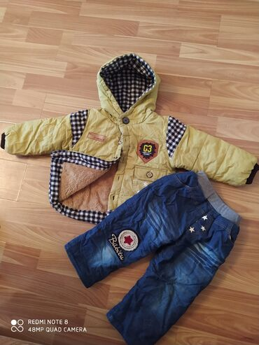 куртки для новорожденных в Кыргызстан: Детская осень-зима куртка+штаны до 2-2,5. Рост110. Состояние