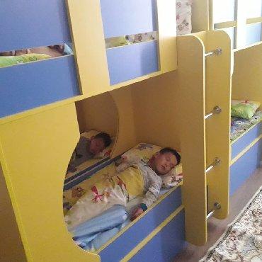 Детская мебель - Цвет: Белый - Бишкек: Мебель для детского сада. Горка в детский сад, материал ЛДСП, 4 секции