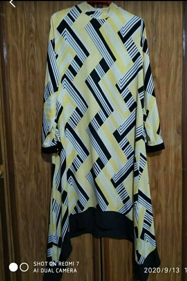 черное до колен платье в Кыргызстан: Платье - туника ( А-силуэт, асимметрия, длина ниже колен,размер 48-50