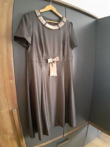 Haljina domaca proizvodnja - Srbija: Haljina braon boje, sa blagim odsjajem. Pogodna za večernje ili poslov