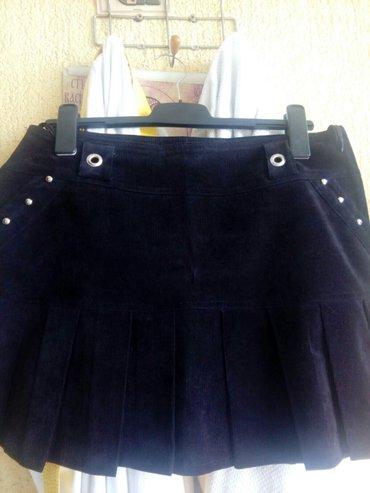 Suknja nova,crna od tankog plisa, sa faltama napred i pozadi, ukrasena - Beograd