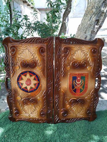 Нарды - Азербайджан: Uzerine xususi zovqle oyma usulla Silahli Quvvelerin loqosu ve Gerb