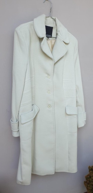 Happening-kaput-dug-vuna-topao-strukiran-ici - Srbija: Beli kaput, ženski, broj 44. 77% vuna, 3% kasmir, 20% poliamid. Nošen