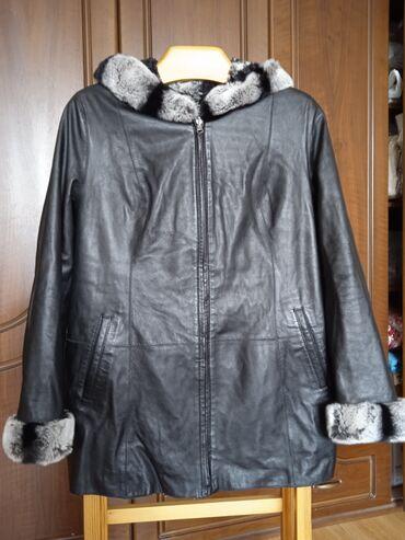 Кожаная Двойная куртка. Мех зайца . Производство- Турция. 48