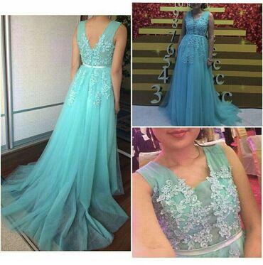 Продаётся платье бирюзового цвета в хорошем состоянии
