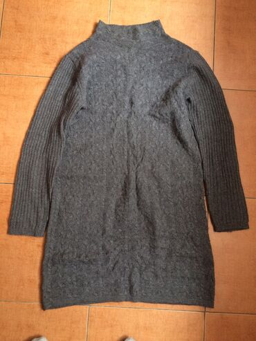 Серое шерстяное тёплое платье Mango