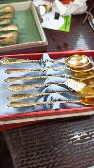 Коллекционные ложки - Кыргызстан: Ложки серебро, СССР,875,вес,61гр