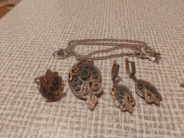 Продаю серебро набор +цепочка очень красивые покупала в Турции качест