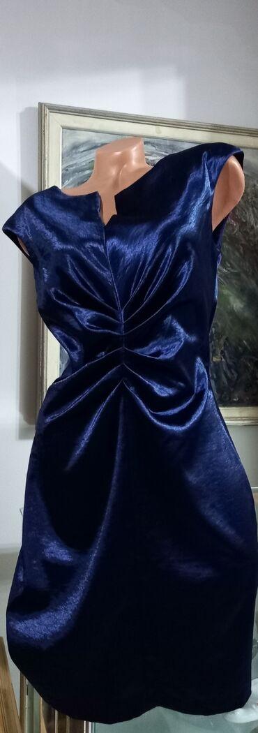Poslovno elegantni komlet - Srbija: Prelepa indigo plava haljina vel XL Naznačena vel 10, ima