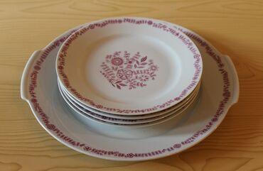 Набор тарелок – блюдо и 4 тарелки для десерта производства Kahla, ГДР