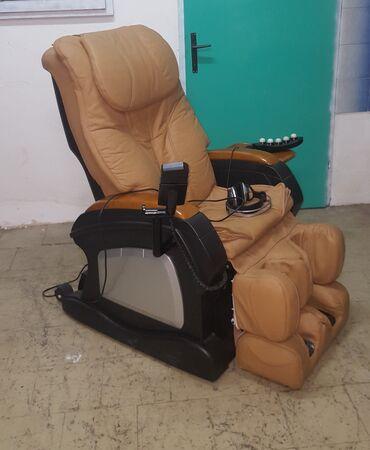 Nameštaj - Kula: Masazna fotelja braon-prava koza. Prelepa braon masazna kozna fotelja