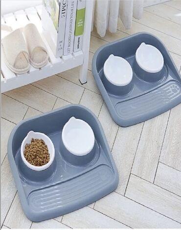 Удобная пара мисок для кошек и собак! В наличии цвет салатовый