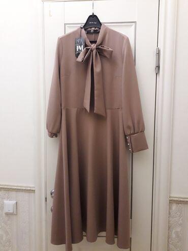 Красивое платье кофейного цвета (тёмный беж), размер 44. Подойдет на