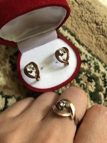 sergi iz zolota 375 proby в Кыргызстан: Продаётся золотой набор! Размер кольца 18. Проба 375