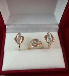 Комплект из красного золота 585 проба. размер кольца 17. 5 в Бишкек