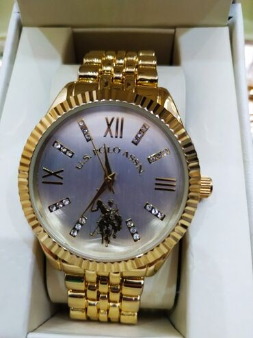 Золотистые Унисекс Наручные часы Beverly Hills Polo Club