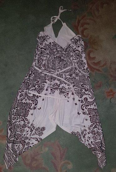 Braon - Srbija: Letnja haljina s-mLetnja bela haljina sa braon cvetovima Vezuje se