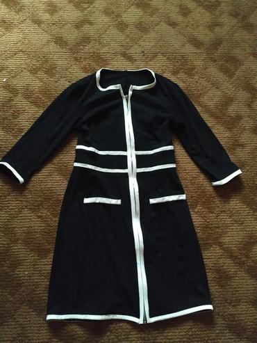 Svecana crno bela haljinica na raskopcavanje  sa 3/4 rukavima  M - Svrljig